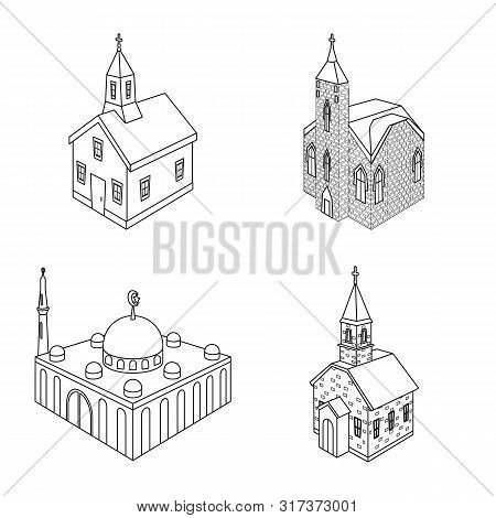 Isolated Object Of Architecture And Building Logo. Set Of Architecture And Clergy Vector Icon For St