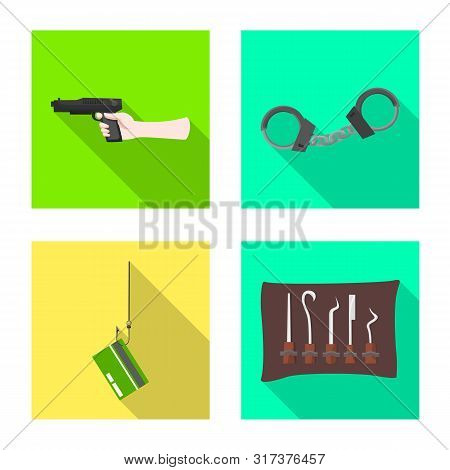 Vector Illustration Of Crime And Steal Sign. Set Of Crime And Villain Stock Vector Illustration.