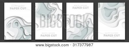 Paper Cut Wave Shapes. Layered White Curve Origami Design For Business Presentations, Flyers, Poster