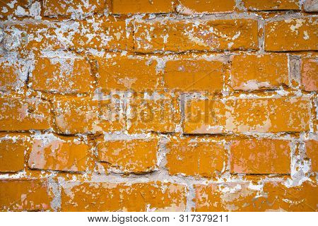 Old Yellow Orange Brick Wall Background Texture Abstract