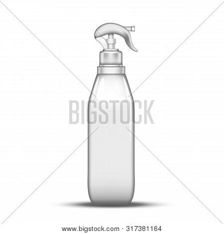 Plastic Atomizer Bottle Pulverization Water . Glass Bottle Spray Lance With Trigger For Cleanliness Liquid. Refillable Package Device For Scour Fluid Realistic 3d Illustration poster