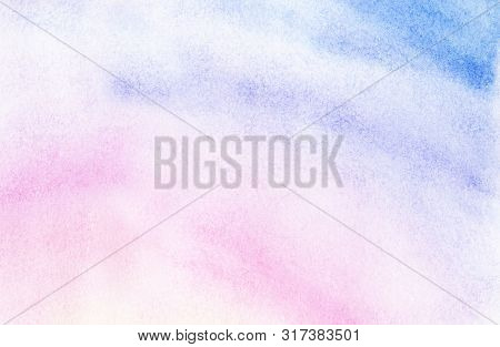 Abstract Watercolor Background Of Pastel Shades. Gentle Gradient From Light Blue To Mauve Color. Sun