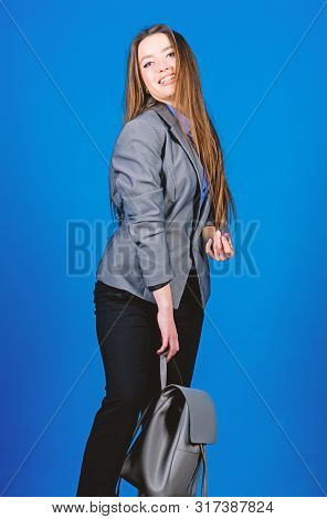 Student Life. Smart Beauty. Nerd. Business. Shool Girl With Knapsack. Female Bag Fashion. Stylish Wo