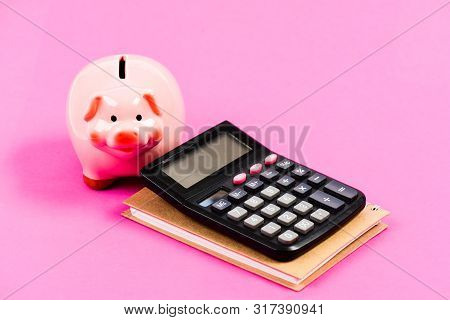 family budget management. business start up. saving money. First salary. piggy bank with calculator. Moneybox. bookkeeping. financial report. Looking for money poster