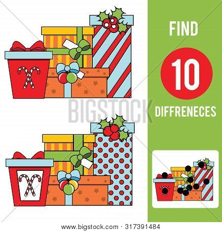 Christmas Gifts. Find The Differences Educational Children Game. Kids Activity Fun Page. New Year Ho