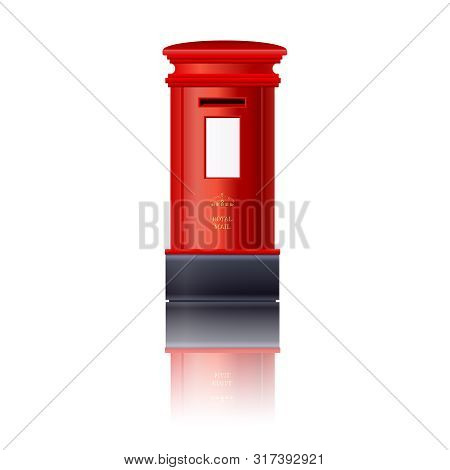 Red London Post Box. London Royal Mail. London Letterbox Icon Isolated