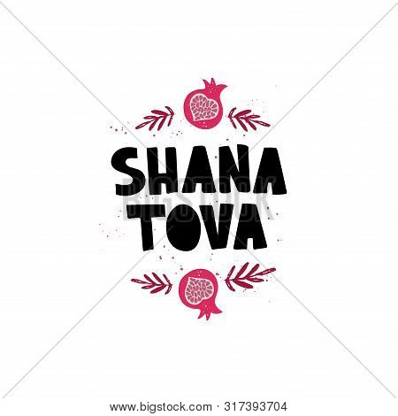 Shana Tova - Handdrawn Lettering. Jewish Holiday. Happy New Year In Hebrew. Vector Banner Template W
