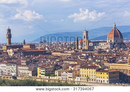 Florence, Tuscany, Italy: Panoramic View Of The Old Town With Towering Cathedral Of Santa Maria Del