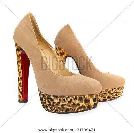 Beige high heels pump shoes with animal skin print
