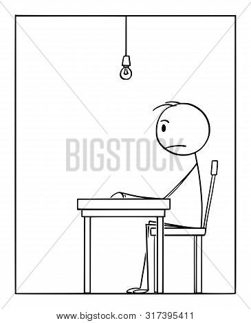 Cartoon stick figure drawing conceptual illustration of lonesome frustrated man sitting alone in depression in his apartment. poster