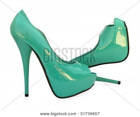 Sky blue open toe high heels pump shoes
