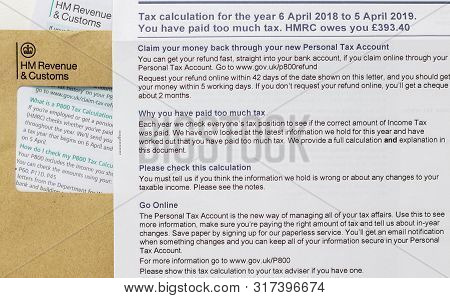 London / Uk - June 25th 2019 - Hmrc Letter Regarding Overpayment Of Tax, With P800 Tax Calculation I