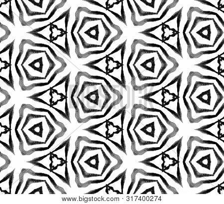 Black And White Geometric Foliage Seamless Pattern. Hand Drawn Watercolor Ornament. Quaint Repeating