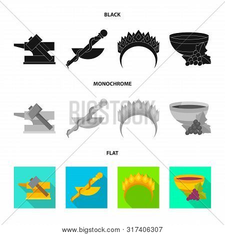 Isolated Object Of Deity And Antique Logo. Set Of Deity And Myths Stock Vector Illustration.