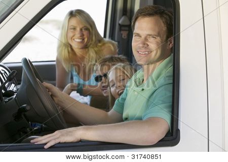 Family in RV on Vacation