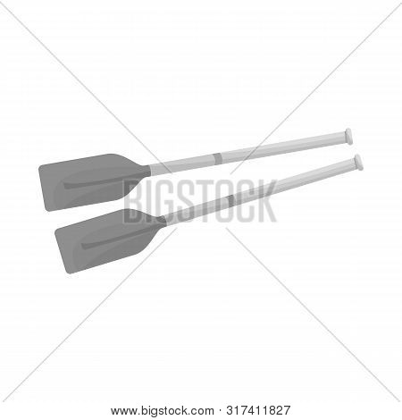 Vector Illustration Of Oars And Paddle Symbol. Set Of Oars And Sport Vector Icon For Stock.