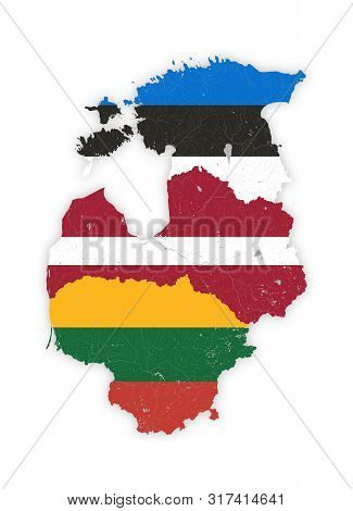 Map Of Baltic States With Rivers And Lakes In Colors Of The National Flags Of Baltic States. Please