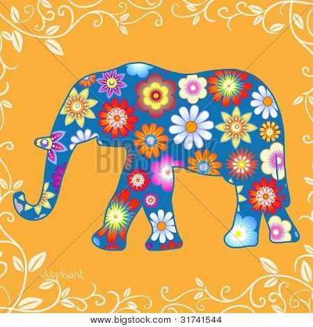 Elephant with flowers, vector