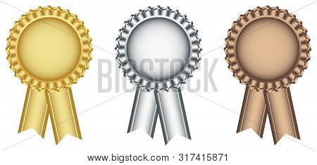 Award Ribbon In Gold, Silver And Bronze As Vector On White Isolated Background. Award Ribbons As Vec
