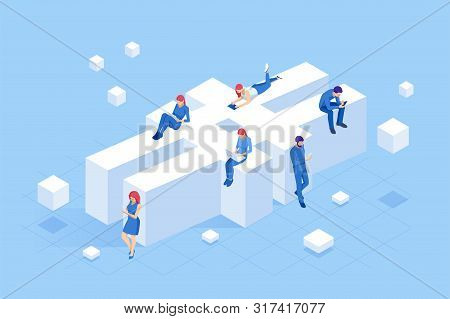 Isometric Social Network Hashtag Or Hashtag Blogging, Concept Of Hashtag For Social Media Marketing