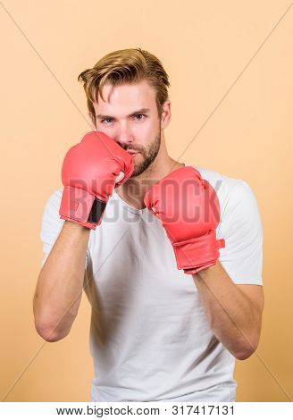 Motivated For Victory. Sportsman Boxer With Gloves. Boxing Concept. Man Athlete Boxer Concentrated F