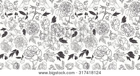 Festive Lineart Peony Blossom Botanical Pattern, Black And White Contrast, Modern Design. All Over P