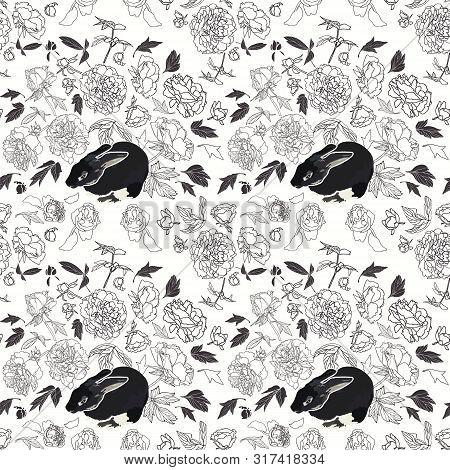 Festive Lineart Peony Blossom Botanical Pattern With Bunny, Black And White Contrast, Modern Design.