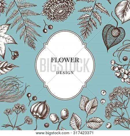 Badge Over Design With Rowan, Rowan, Acorn, Buckeye, Fern, Maple, Birch, Maple Leaves, Lagurus Feath