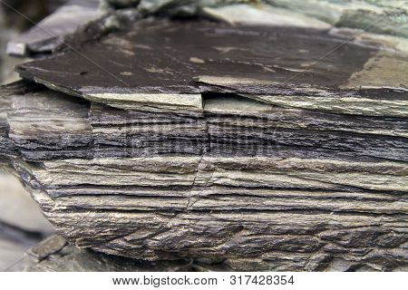 Thin Shale Rock Layers With Fracture Closeup; Newfoundland