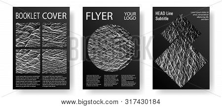 Brochure Layout Design Templates. Black And White Waves Texture Backdrops. Company Strategy Book Cov