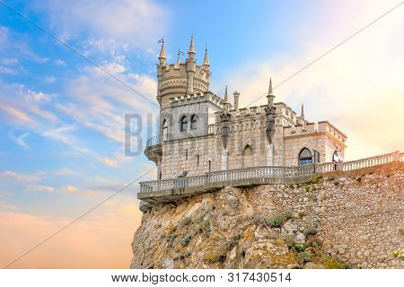 Beautiful View On The Swallow Nest Castle In The Sky, Crimea, Ukraine