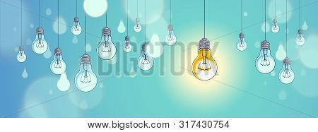 Idea Concept, Think Different, Light Bulbs Group Vector Illustration With Single One Is Shining, Cre