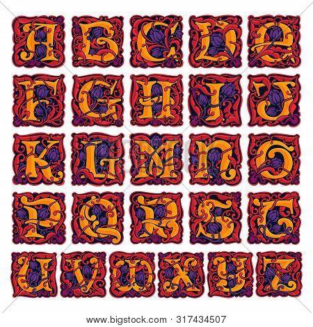 Colorful Antique Gothic Initial Alphabet. Font Style, Vector Premium Design Template Elements For Yo