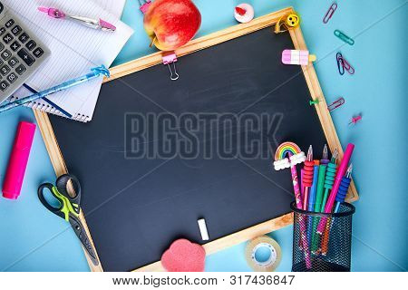 Back To School Background With Accessories For The Schoolroom - Pencils, Notebooks, Books, Scissors,