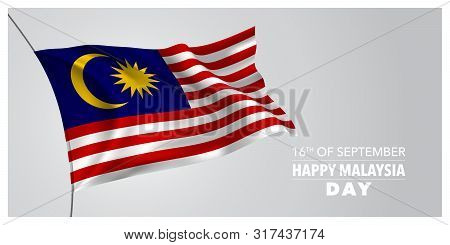 Happy Malaysia Day Greeting Card, Banner, Horizontal Vector Illustration. Malaysian Holiday 16th Of