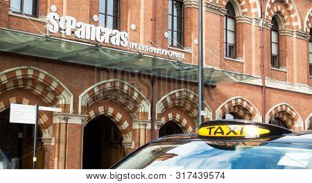 London, England-13 October,2018: Outside Of St Pancras International Railway Station Building With L