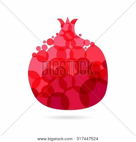 Garnet logotype concept. Round red coloured pome granate logo idea with bubbles on white background. Isolated abstract graphic design template. Branding identity bright element with transparent effect poster
