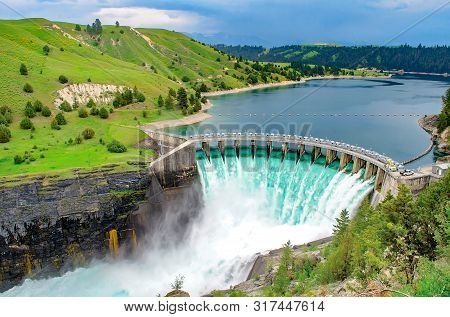 Hydro Electric Dam Spilling Water Open Gates