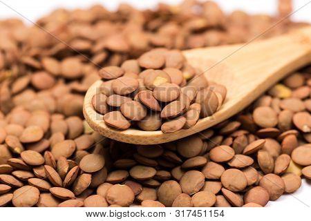 Lentils Background. Green Lentils Pattern. Natural Organic Lentils For Healthy Food
