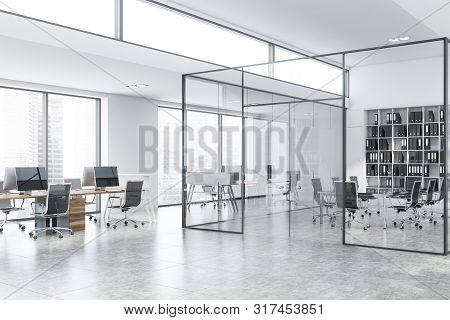 Glass Meeting Room Corner In White Office