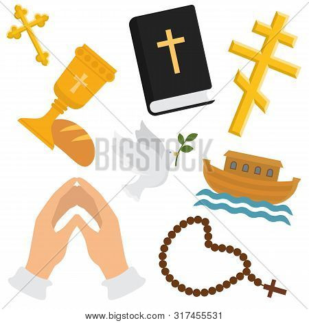 Christian Religion Vector Pattern. Religious Symbols Of Christianity. Illustration Backdrop Set Of C