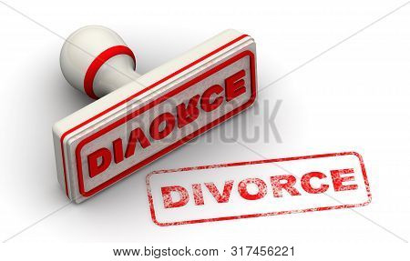 Divorce. Seal And Imprint. Red Seal And Red Imprint Divorce On White Surface. Isolated. 3d Illustrat
