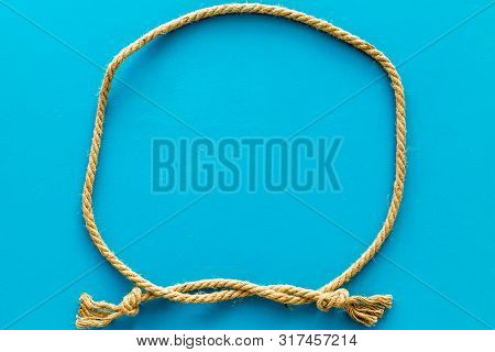 Rope Frame On Blue Background Top View Mock Up