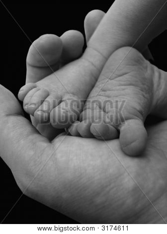 Baby Feet In Hand Black And White