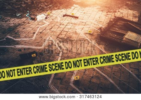 White Chalk Outline Of Killed Body, Blood An Floor And Yellow Police Caution Tape With Text - Crime