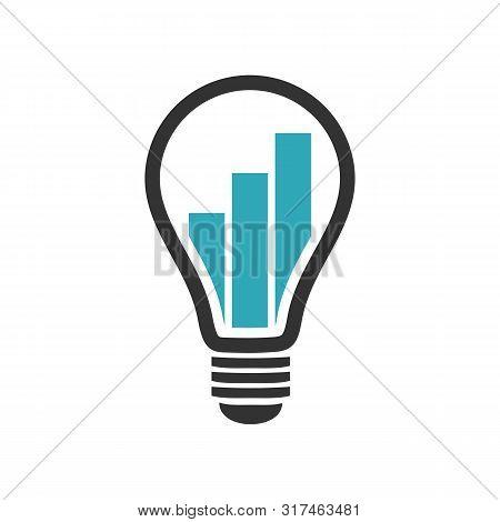 Light Bulb Lamp Graph Chart Bar Logo Template Illustration Design. Vector Eps 10.