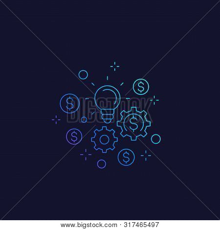Innovations And Fintech Vector Linear Icon, Eps 10 File, Easy To Edit