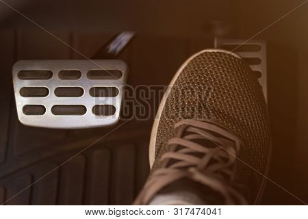 Pressing Accelerator Car Pedal With Shoe Close-up View