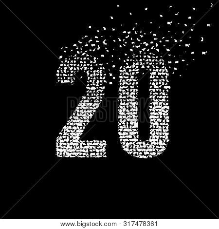 Abstract Number 20. Number Twenty Isolated On A Black Background. Black And White Graphic Number Twe