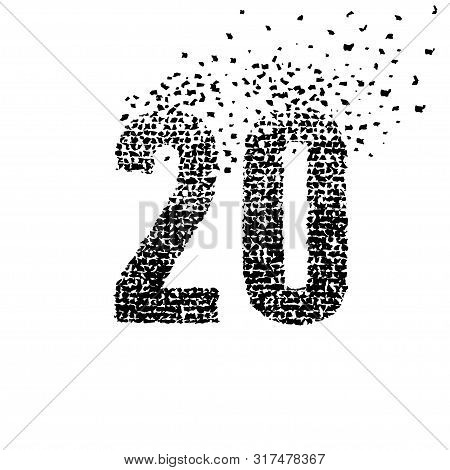 Abstract Number 20. Number Twenty Isolated On A White Background. Black And White Graphic Number Twe